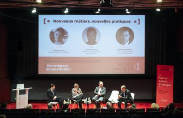 4 speakers sur scène pour une table ronde Retail Project 2019 du groupe Diamart