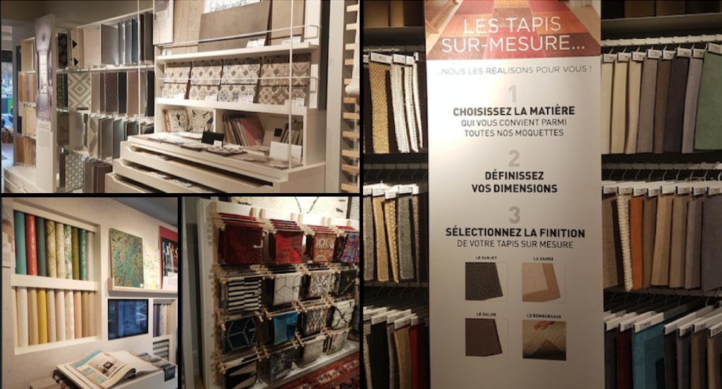montage de plusieurs photos d'échantillon de tapis, de sols et de papiers peints dans le magasin Saint Maclou  Nation