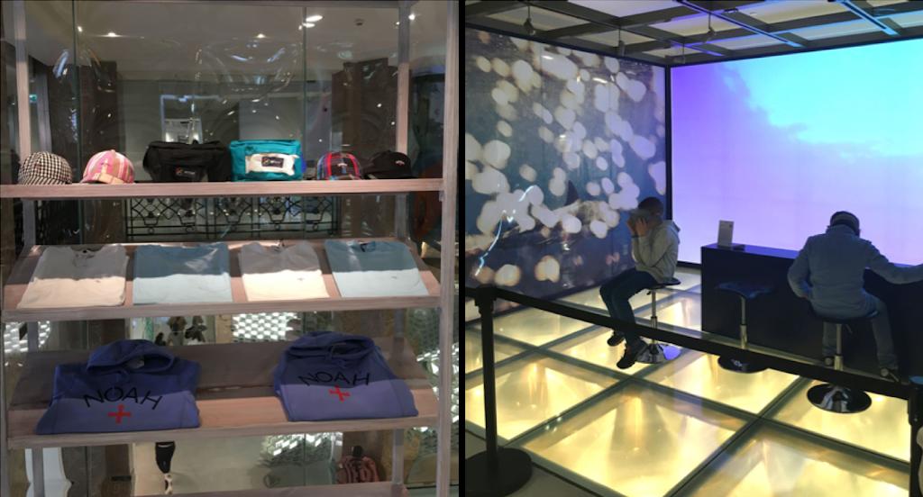 Etagères de vêtements de la marque Noah et espace dédié à la réalité virtuelle aux Galeries Lafayette Champs Élysées