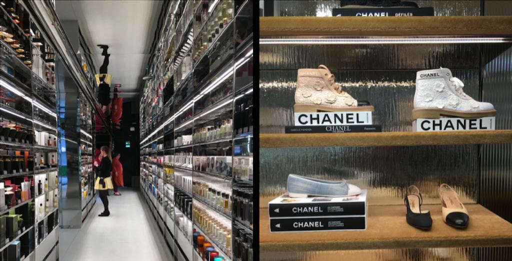 rayons des parfums des Galeries Lafayettes Champs Élysées et étagères de chaussures Chanel