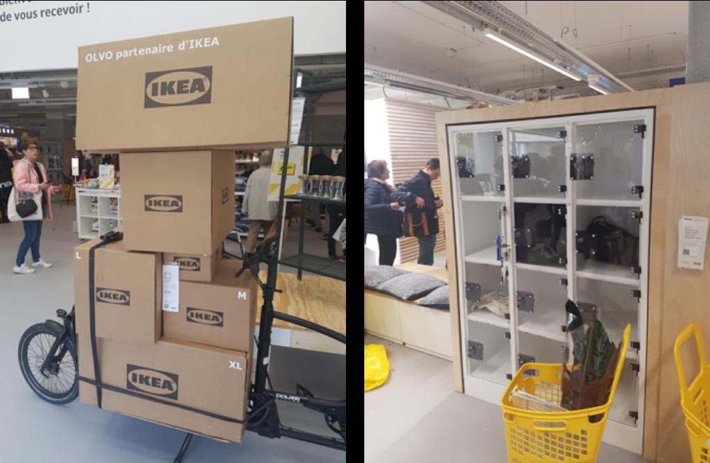 vélos OLVO, le partenaire de livraison de colis IKEA à Paris Madeleine et casiers de stockage